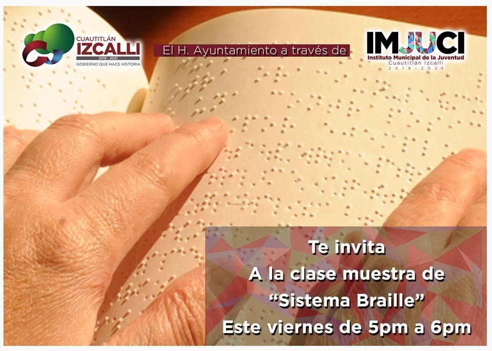 Realizarán clase muestra sobre el Sistema Braille de lecto-escritura para débiles visuales